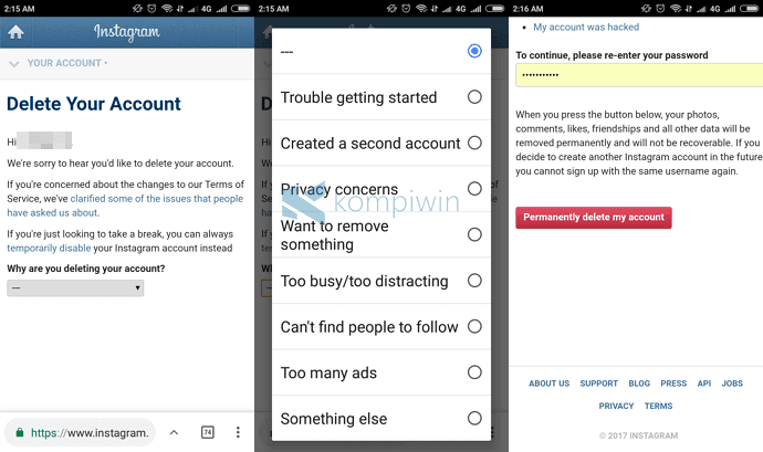 Cara Menonaktifkan/Menghapus Akun Instagram di Android/iPhone/Web 2