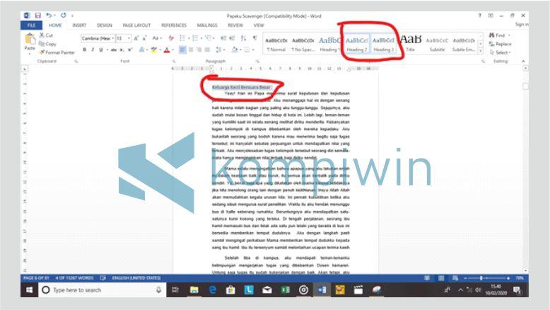 Mengatur Heading 1,2, dan Seterusnya pada Dokumen