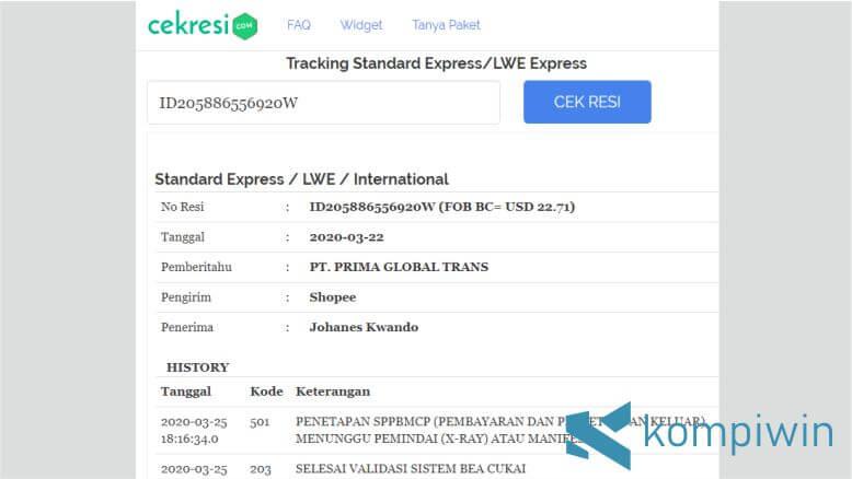 Hasil Cek Resi Standard Express via Website Cek Resi