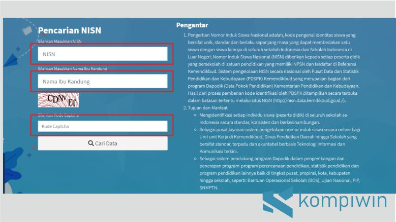 Isikan Data sesuai Form untuk Cek NISN