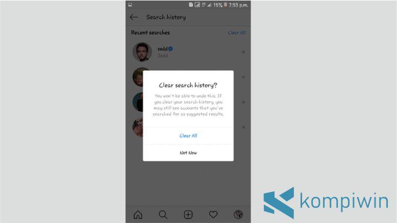 Klik Clear all untuk Menghapus Semua Pencarian di Instagram