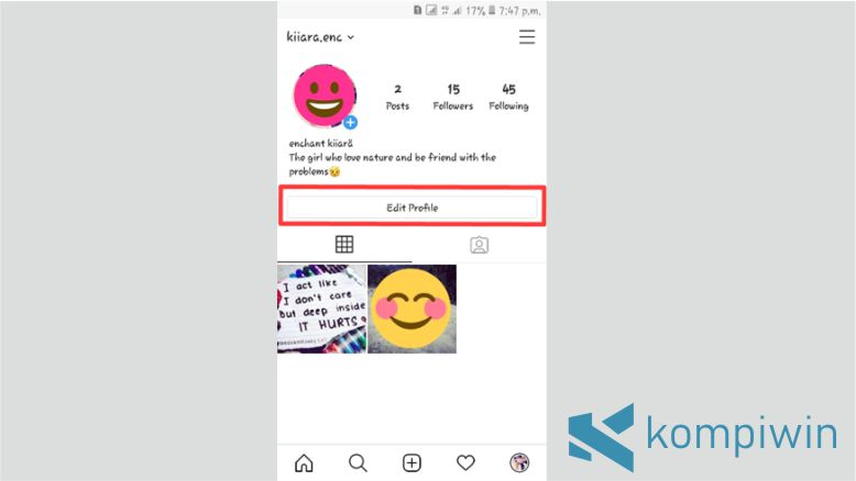 Klik Edit Profile Instagram
