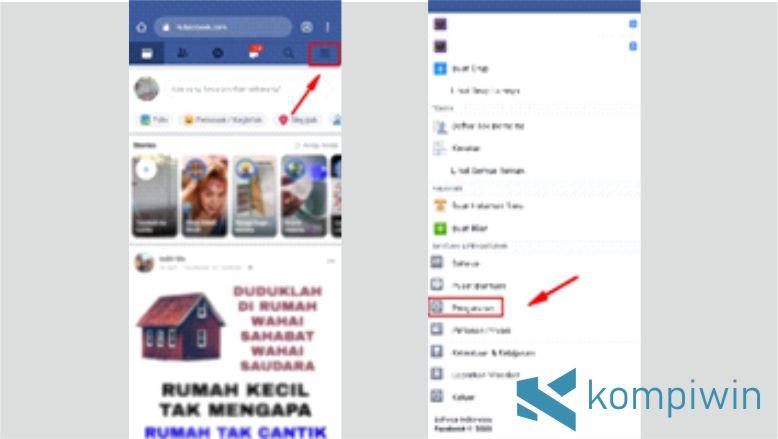 Klik Menu Pengaturan Akun Facebook
