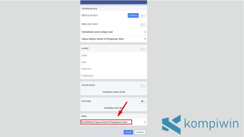 Klik Menu Tambah atau Hapus Email di Pengaturan Akun Facebook