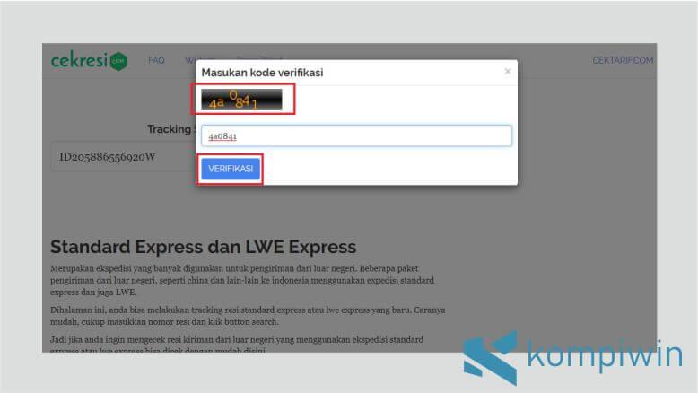 Masukkan Kode Verifikasi untuk Mengecek Resi Standard Express