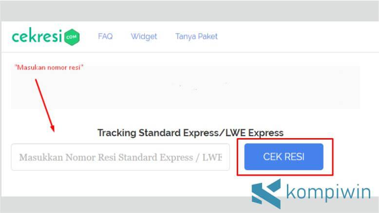 Masukkan Resi Standard Express di Kolom