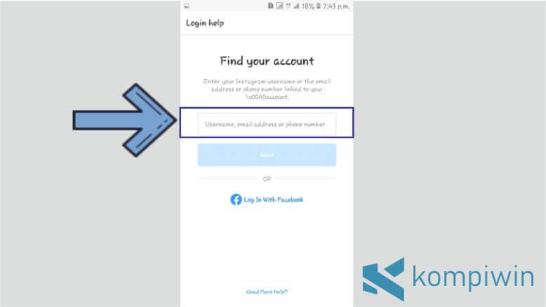 Masukkan Username, Email, atau No Telp Akun Instagram yang Lupa Password