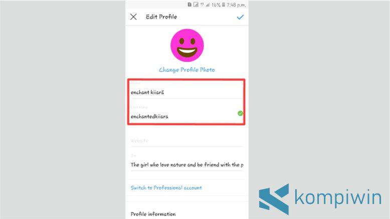 Pengaturan Profil Akun Instagram