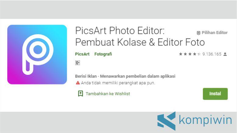PicsArt untuk Menggabungkan Foto