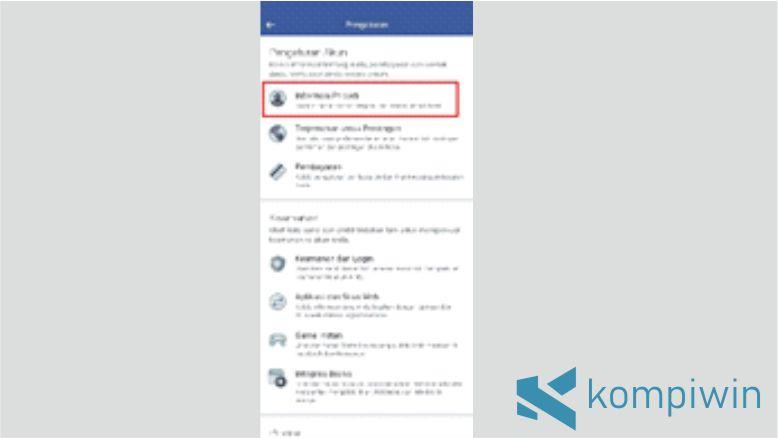 Pilih Menu Informasi Pribadi Akun Facebook