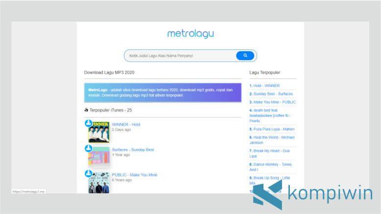 Tampilan Desktop Situs MetroLagu