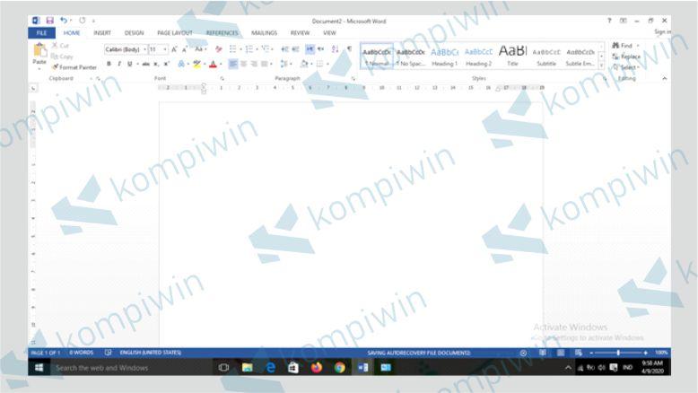 Buka Dokumen Word Sebelum Membuat Tabel