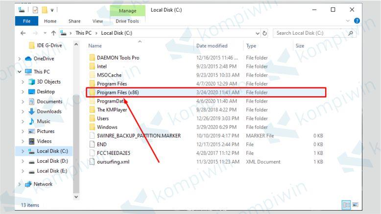 Buka Program Files (x86) untuk Office 32-bit Program Files untuk Office 64-bit