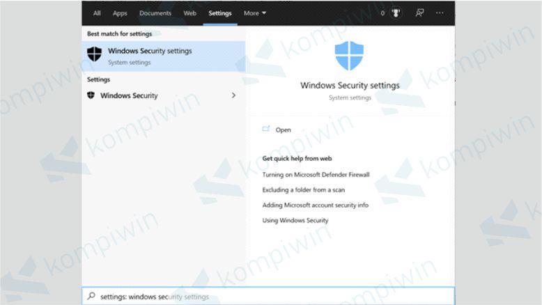 Buka Windows Security Settings