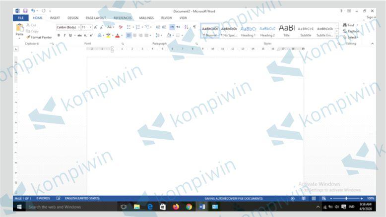 Buka lembar kerja Word
