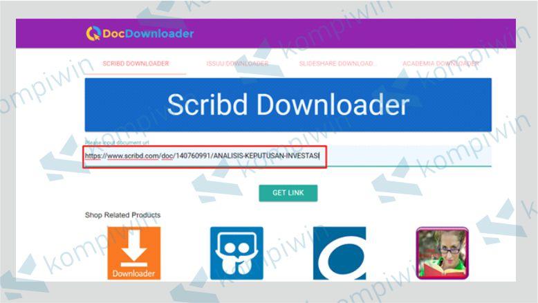 Copy Paste Link Dokumen Scribd ke Kolom DocDownloader