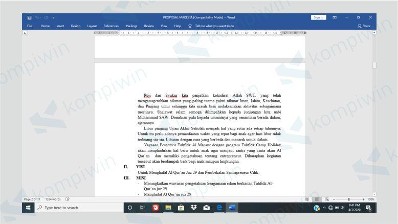 Dokumen Belum Dilakukan Pemformatan Margin