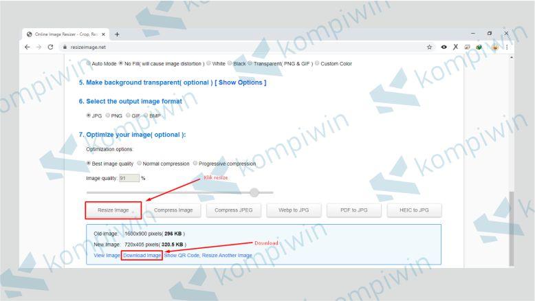 Download JPG yang Ukurannya sudah diubah