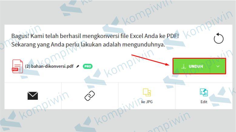 Download hasil file Excel yang sudah diubah ke PDF