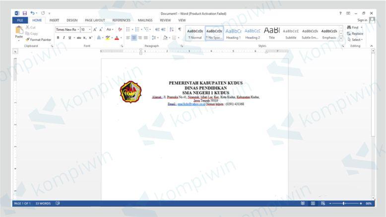 File Kop Surat Microsoft Word