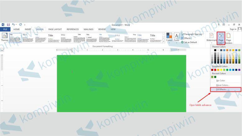Fill Effects untuk Menambahkan Efek Background di Word