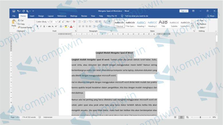 Hasil dokumen dengan spasi double