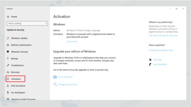 Klik Activation di Windows 10