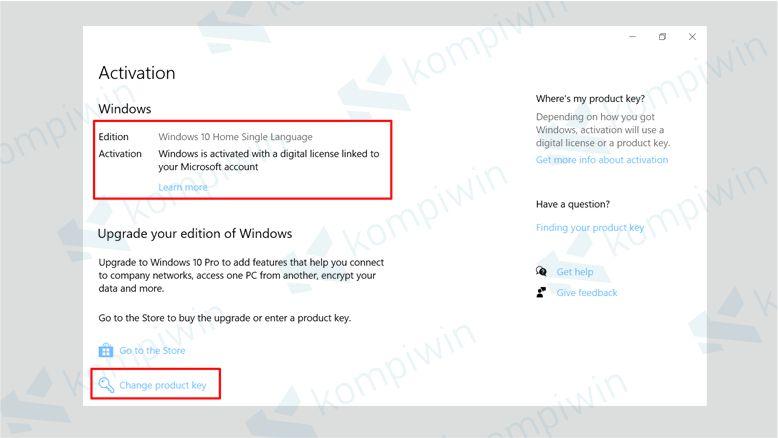 Klik Change Product Key untuk Memasukkan Product Key Windows 10 Kalian