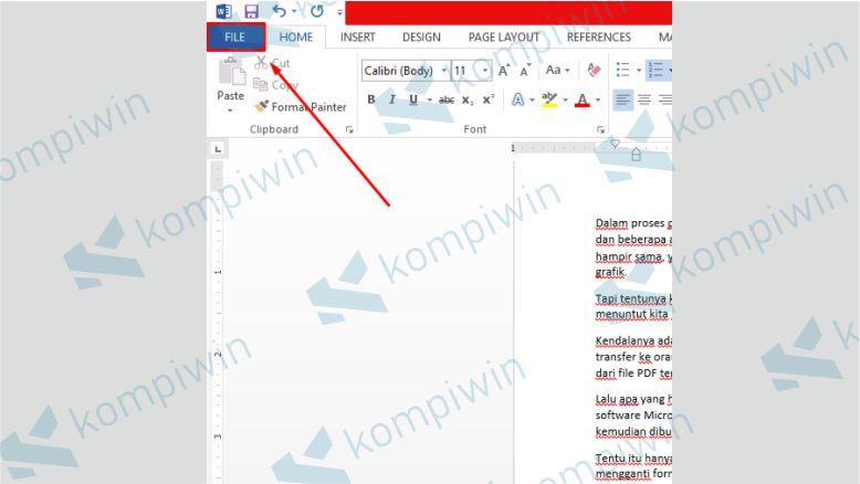 Klik Menu File di Word