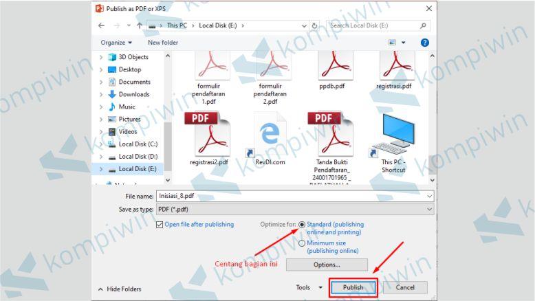 Klik Publish untuk Mengubah Dokumen PPT ke PDF