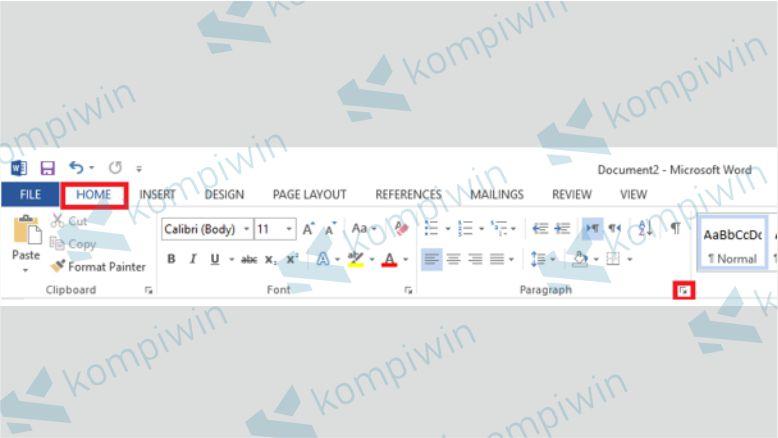Klik menu bar Home dan pilih sub menu Paragraph