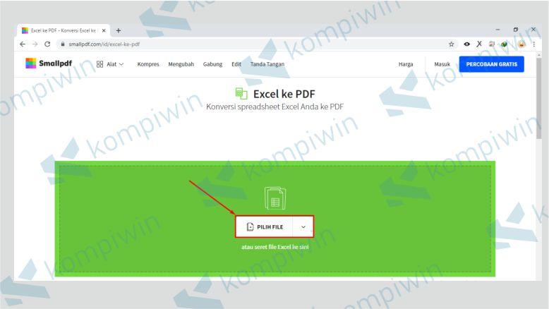 Klik pilih file untuk mengupload file Excel yang akan diubah ke PDF