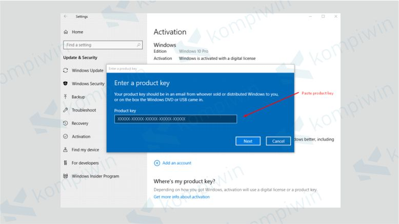Masukkan Product Key Windows 10 dan Klik Next