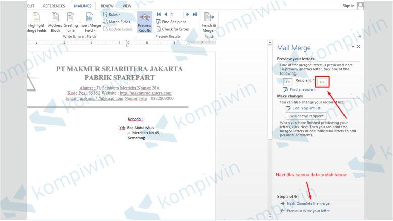 Melihat Hasil Preview Mail Merge yang Dibuat