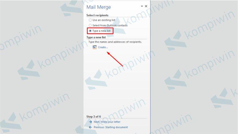 Memilih Data untuk Mail Merge