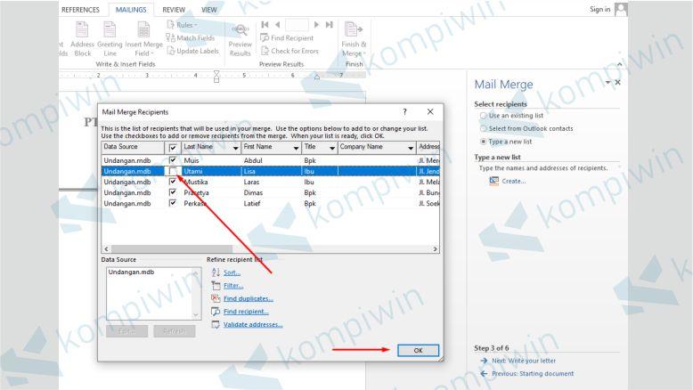 Menghilangkan Salah 1 Data Mail Merge