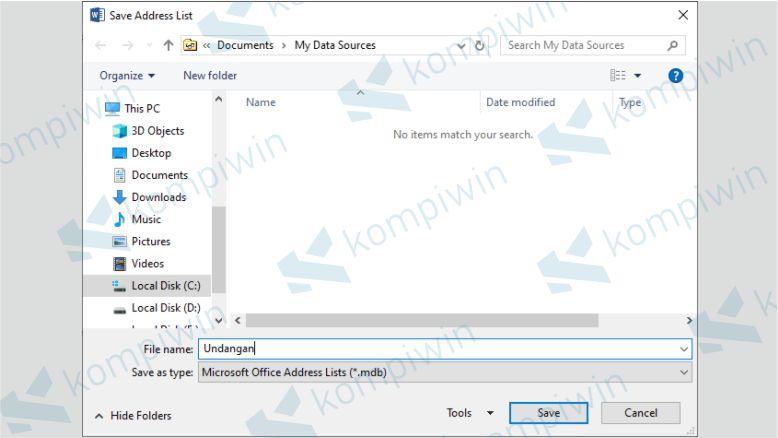 Menyimpan Data Mail Merge