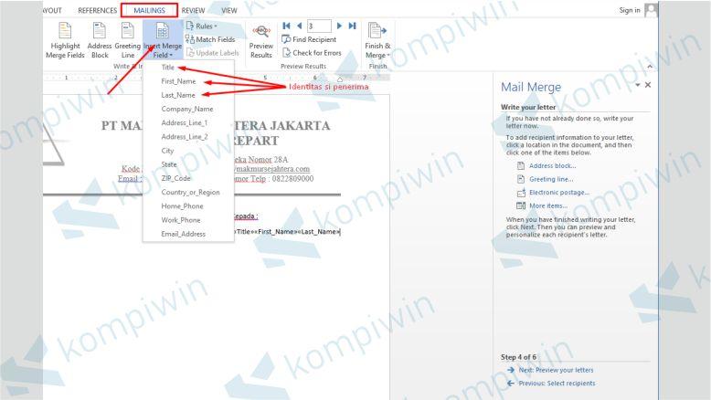 Mulai Menata Data Mail Merge di Dokumen