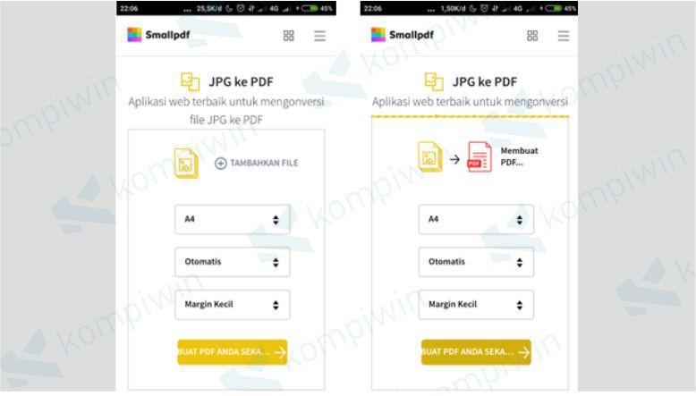 Mulai mengubah file JPG ke PDF