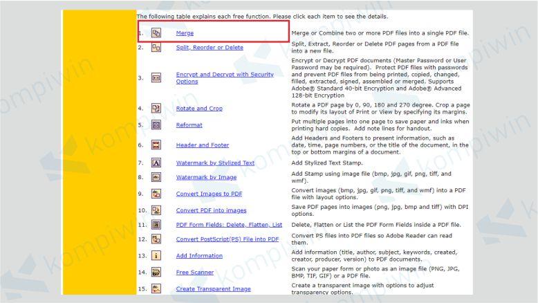 Pilih Menu Merge di PDF Tools