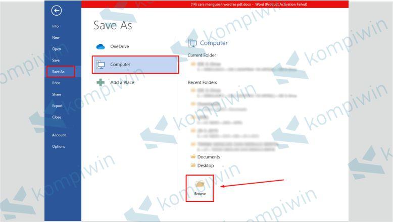Pilih Save As untuk Menyimpan Dokumen Word dalam PDF