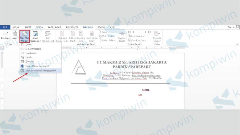 Pilih Start Mail Merge