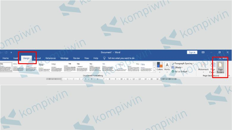 Pilih menu Design dan klik Page Borders