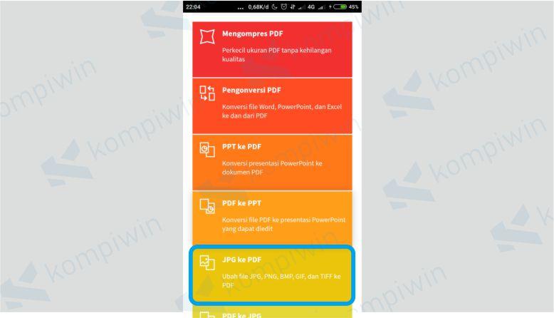 Pilih menu JPG ke PDF