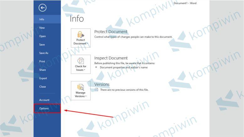 Pilih menu Option untuk mulai memperbaiki file word yang rusak