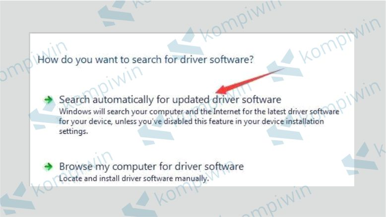 Pilih seacrh automatically for updated driver software