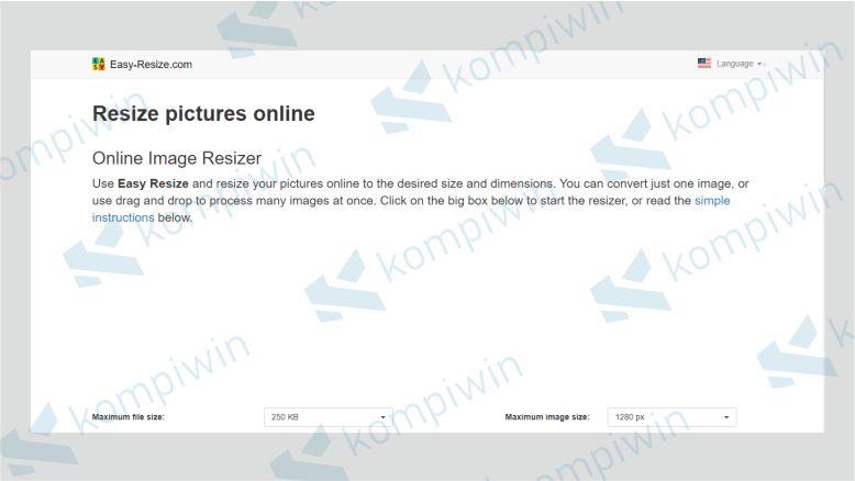 Tampilan Situs Easy-Resize