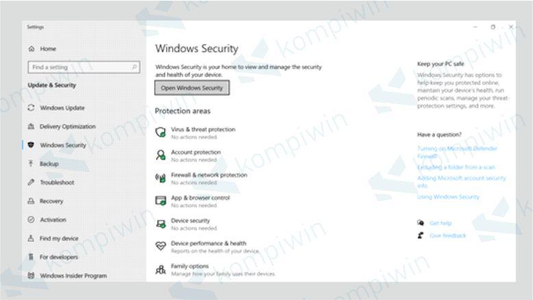 Tampilan Windows Security