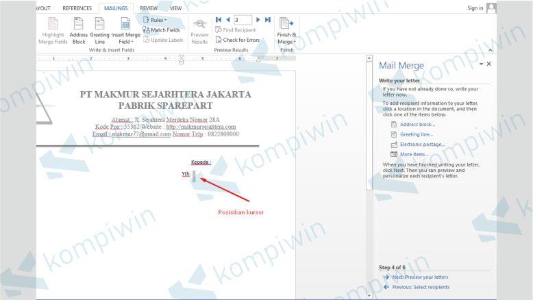 Tempatkan Kursor di Dokumen