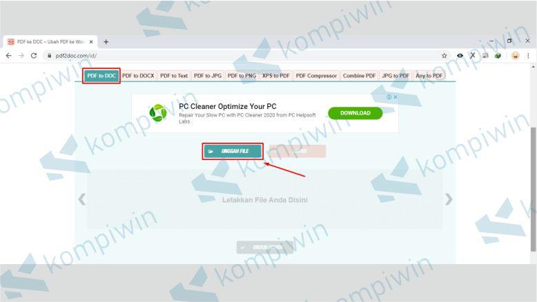Unggah File PDF yang Diubah ke Word di PDF2Doc